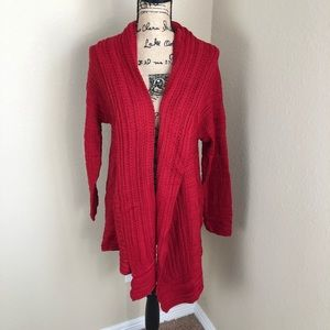 Style & Co Red Pointelle Cardigan Sweater NWT L
